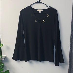 Michael Kors Black CrissCross Tie Bell Sleeve Top✨